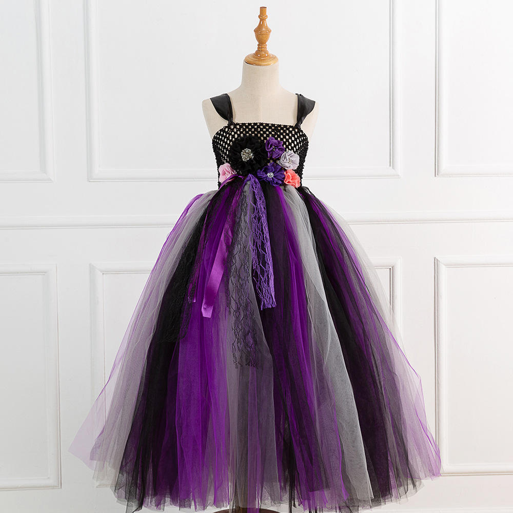 Hot Sale New Arrival Halloween Witch Dress Skirt Western Style Children Girls Ankle Length Beautiful Dress
