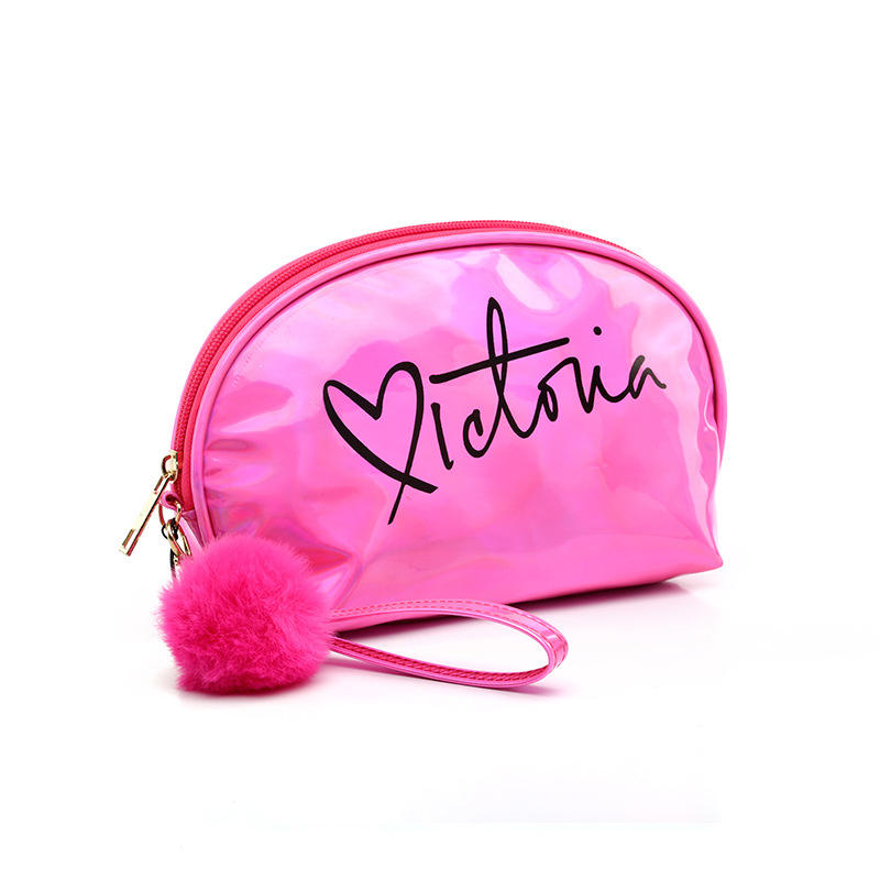 Travel Shell Shape Makeup Bag Portable Holographic PU Leather Letter Cosmetic Bag With Hairball