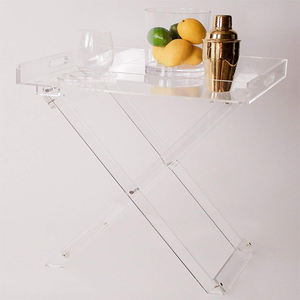 custom made clear Acrylic Accent Bar Serving Folding Tray Table