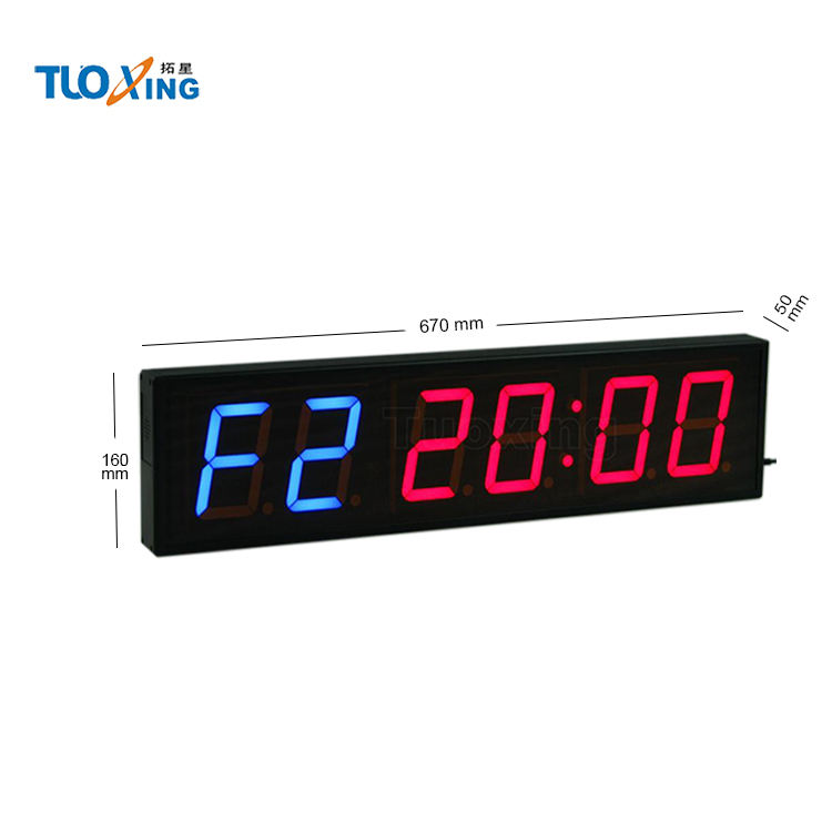 Hot koop 4 inch 6 cijfers led gym interval timer led tabata training klok