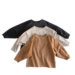 baby kids loose fit raw edge tops solid shirt 2020 boy and girls autumn long sleeve jersey cotton shirt