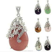 Beautiful natural crystal healing stones angel tears drop diamond plum pendant for decoration