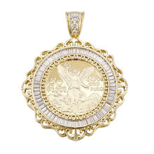 33118 simple gold pendant design, diamond pendant, 50 Peso Mexican Coin Pendant