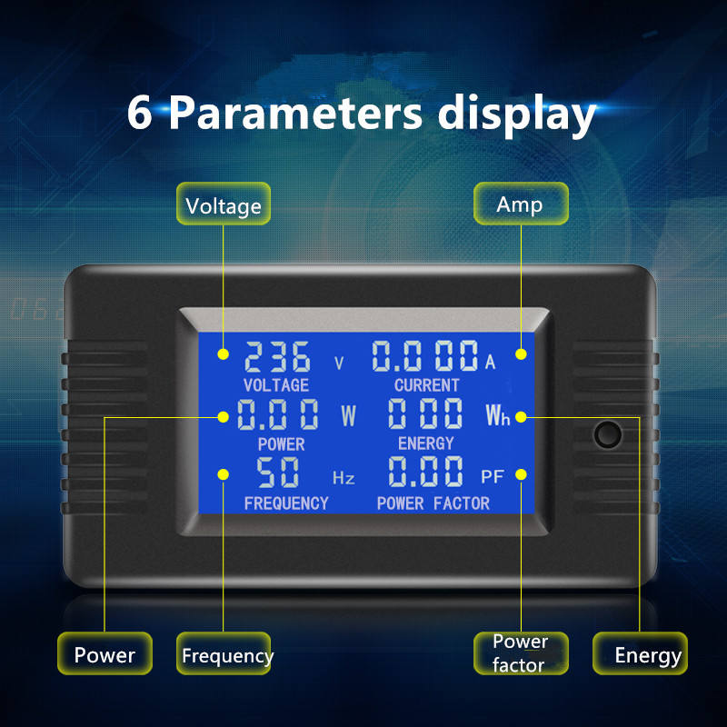 Electric Kwh Meter Peacefair Manufacturer PZEM-022 AC 220V 6in1 Volt Amp Watt Energy Frequency Electric Smart Kwh Meter Digital Power Factor Meter