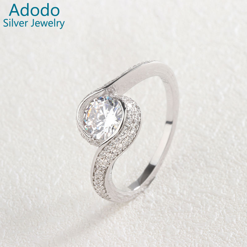Hot Sell Zircon Bezel Setting 925 Sterling Silver Ring For Wedding Gift