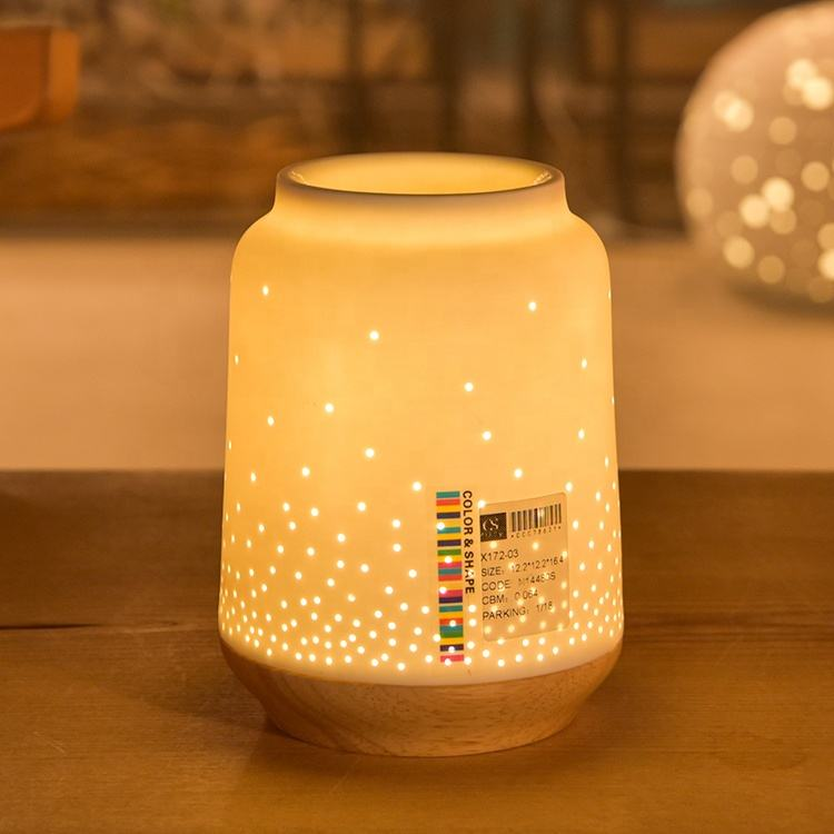 Birthday gift personalized cheap porcelain oil aroma lamps electric fragrance lamps with wooden base