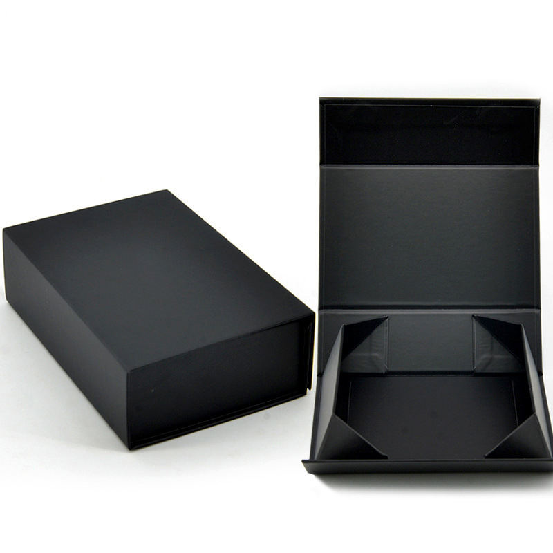 Black Color Hard Luxury Box Customize Logo With Magnetic Closure Lid Fold Gift Box For Packaging