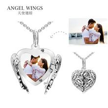 Valentine Day Gift 925 Sterling Silver Customized DIY Personalized Angel Wing Open Heart Photo  Frame Pendant Locket Charm