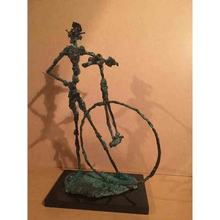 Antique handmade carved bronze abstract bicycle clown sculpture