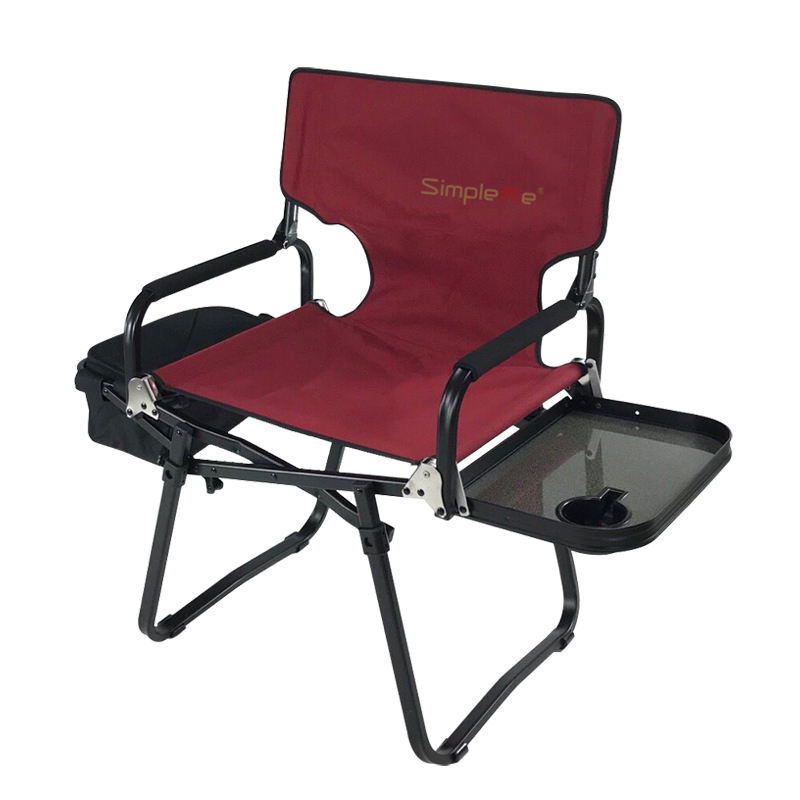 OnwaySports Aluminum Black Portable Foldable Director Chair with Side Table and Cooler Bag