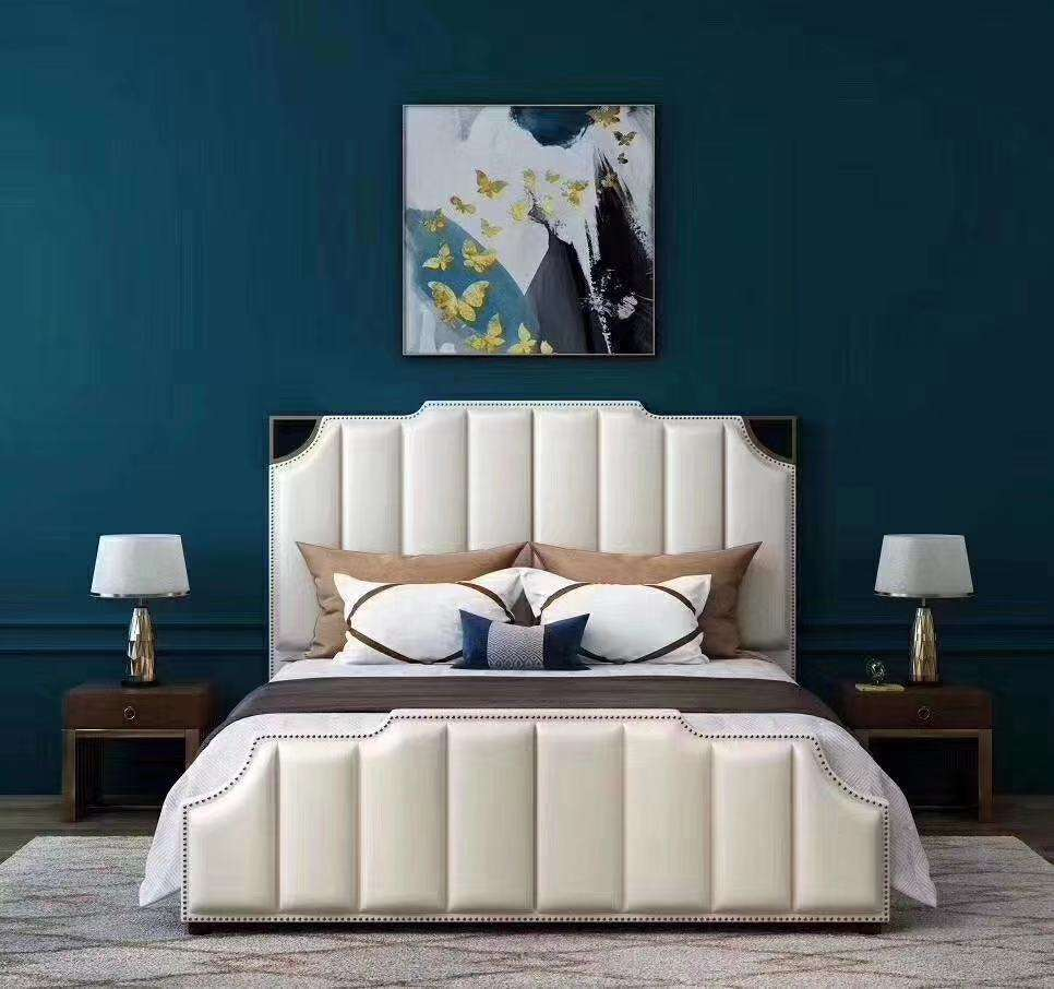 Modern simple cloth art double bed Northern Europe Can take apart the soft bed