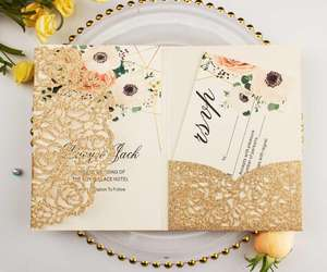 Elegant Rose Gold Glitter Poeder Pocket Bruiloft Uitnodiging Laser Cut Tri-Fold Uitnodigingen Groet Gift Cards Party Decor