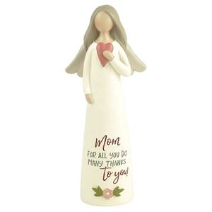 Customized Mother day's Gifts Resin Lovely Angel Figurines With Heart