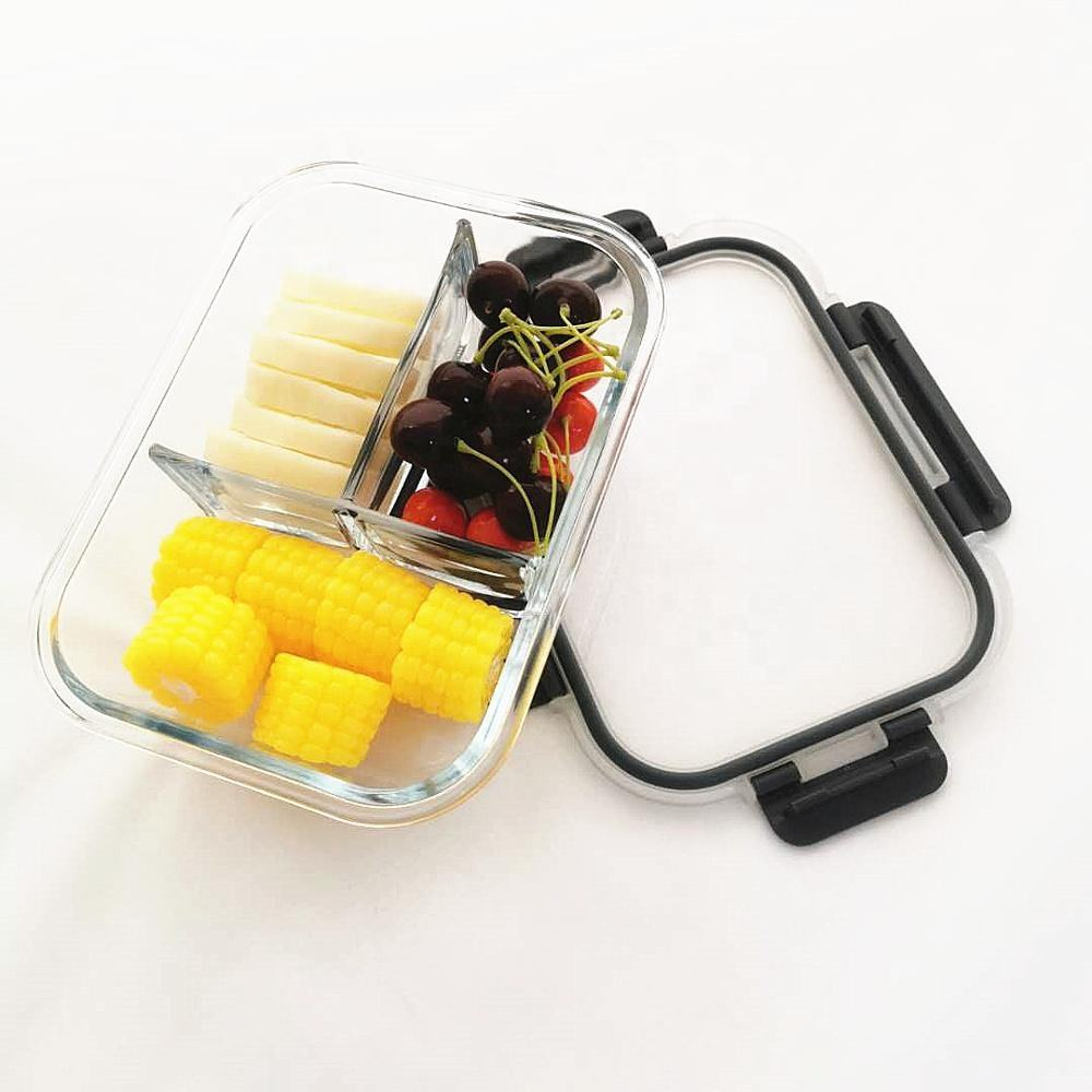 New Design Hot Selling Eco-friendly High Borosilicate Glass 3 compartment Food Storage Container Box Lunch Box