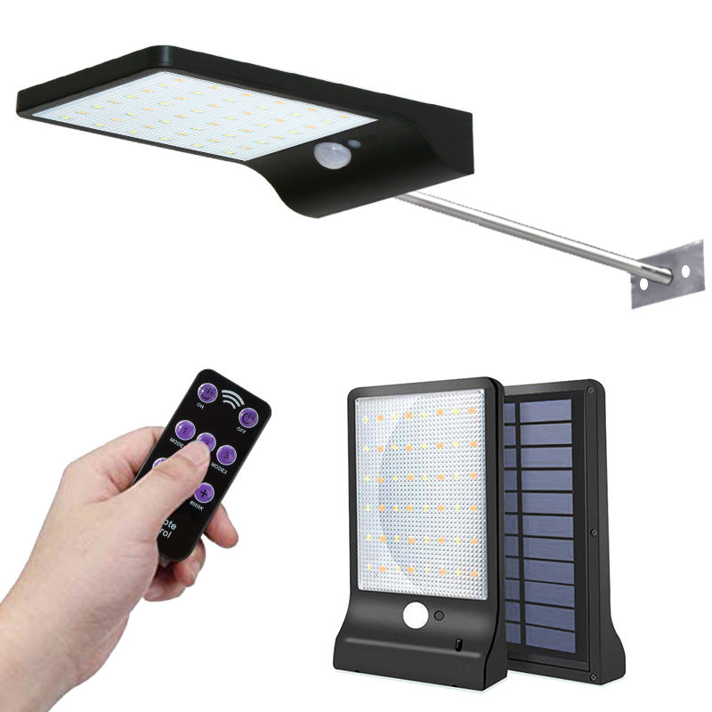 48LED Powered Motion Sensor Wall Security Led Work Park Rechargeable Road yard Sensor Small Aluminum Mounted Solar Wall Light