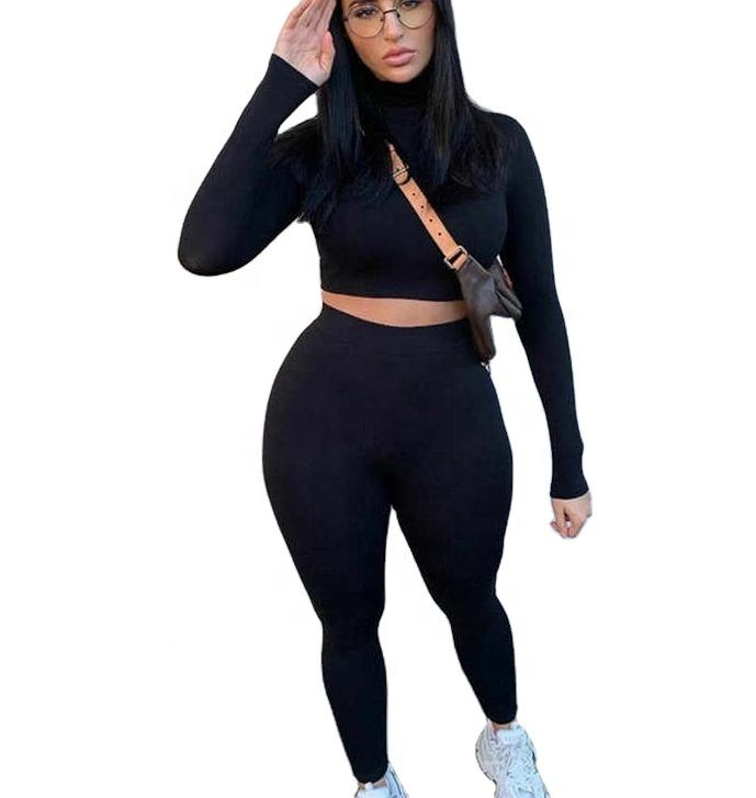 fashion tracksuit women turtleneck full sleeveless crop top+leggings matching set stretchy sporty fitness casual outfits