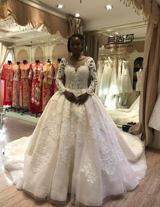 2019 new model long sleeve beaded women wedding dress