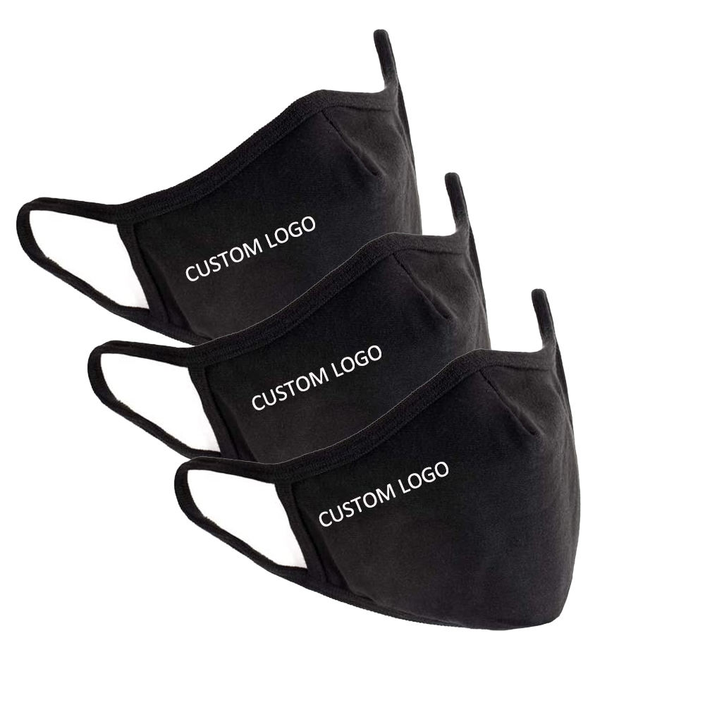 Wholesale Protection Skin Care Washable Designer Reusable Unisex Black Fashion Cotton Logo Print Custom Mask with Filter Pocket