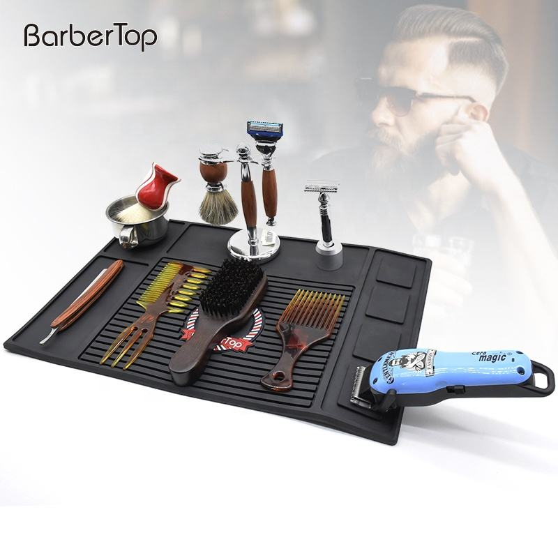 Hot selling hairdressing tools display products silicone mats portable magnetic anti-skid barber shop mats