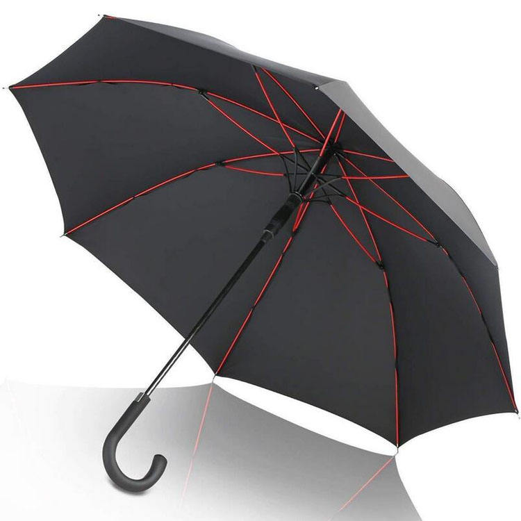 wholesale custom 210T fabric windproof gift 8K rain umbrella ,50 inch black straight automatic open waterproof umbrella