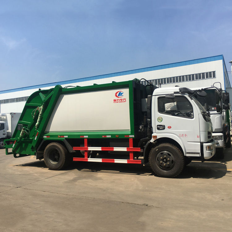 DLQ Cheap price dongfeng chaochai engine 95hp swing arm garbage truck with bins side loader truck rubbish skip