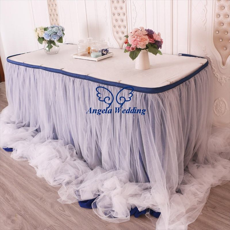 CL072J fancy factory drop shipping different beautiful ruffled navy and ivory chiffon and tulle bridal table skirt