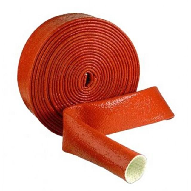 Ningguo silicone coated fiber fire sleeving to cover a stainless steel hose