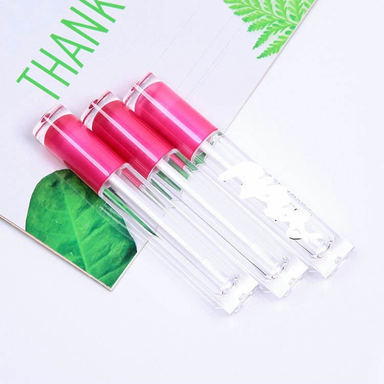 Empty Transparent bottle & pink top 3.5ml lip gloss packaging tube