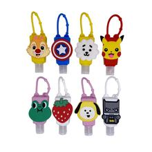 Wholesale Promotion Giftts 30ml 50ml Cute Kids Hand Mini Hand Sanitizer Gel Bottle keychain Silicone Holder