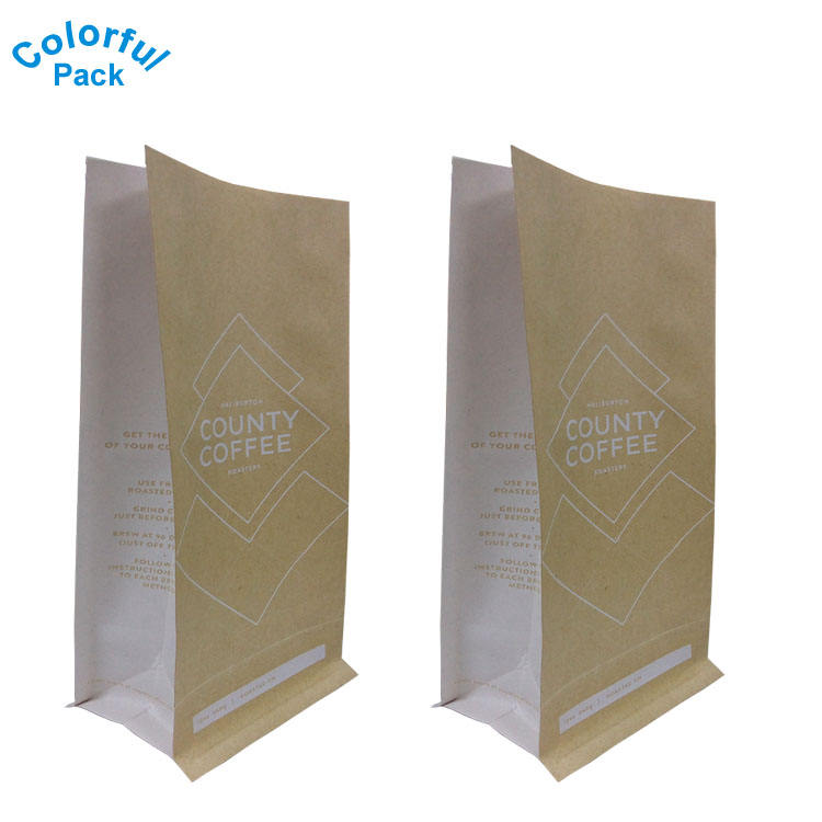 Heat seal block bottom pouches aluminum foil flat bottom bags food plastic packaging bags with plain color