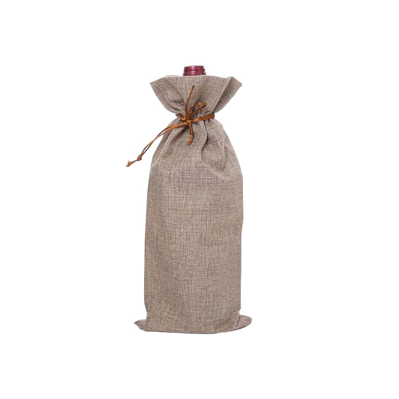 ANMAI Wholesale Jute Wine Bags Drawstring Custom Reusable Print Logo Gift Pouch Wine Bags