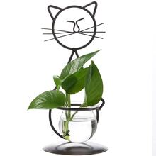 Desktop Glass Planter Hydroponics Vase Cute Cat Plant Vase For Home Decoration
