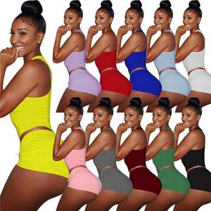 Colorful Bright Women Clothes Gym Suit Sport Bra Tops Yoga Shorts Set Two Pieces Outfits Crop Top and Mini Skirt Set