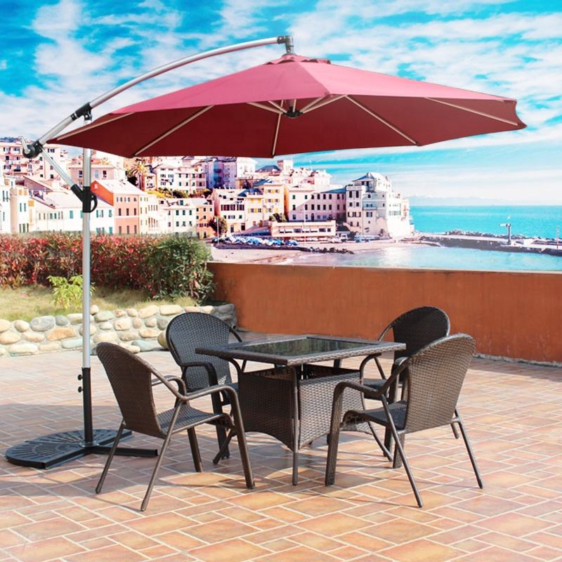 Outdoor Hanging Waterproof Banana Umbrella Cantilever Garden Beach Patio Sun Canvas Parasol Aluminum Restaurant