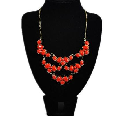 E1055 Fashion Women Bohemian Jewelry Alloy Pendant Resin Gem Stone Lover Necklace Charm Couple Choker Vintage Ruby Necklace