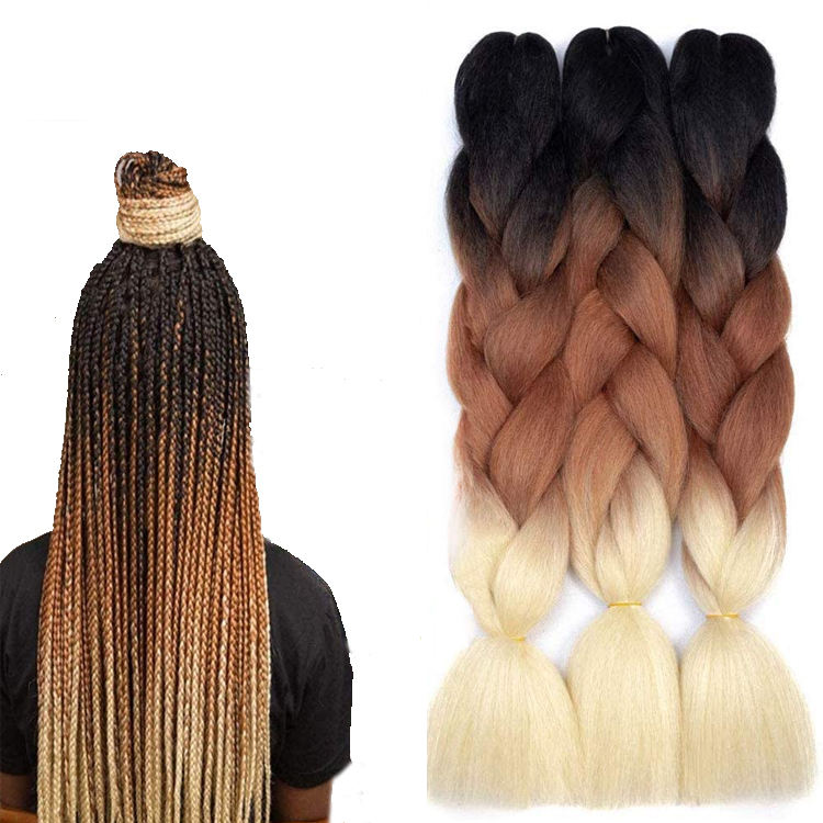 Hot selling yaki Jumbo Ombre Braiding Hair Wholesale 100g African Crochet Braids Hair 24 inch Synthetic braiding Hair Extensions