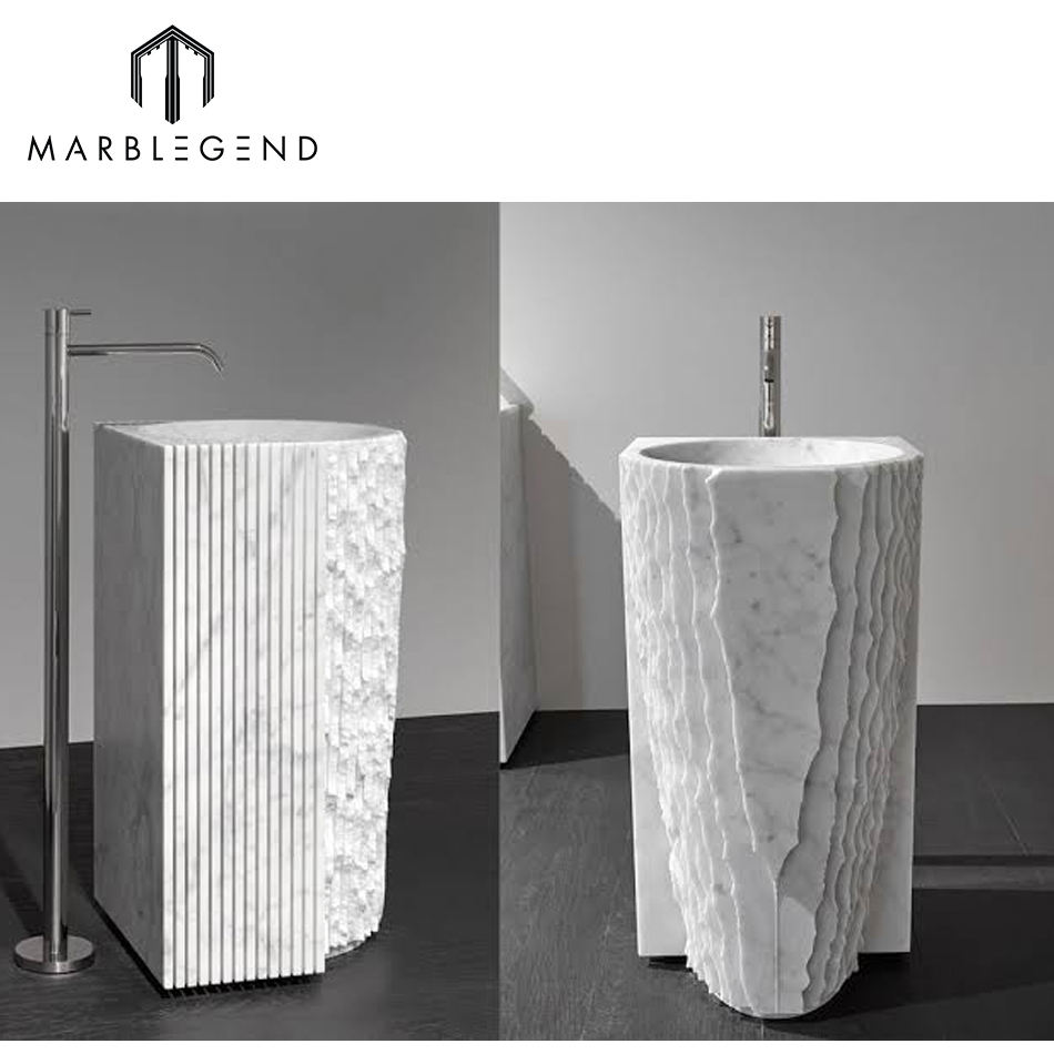 modern bathroom freestanding natural stone Italian carrara marble pedestal sink
