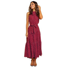 Wholesale Spring And Summer Latest High Waist Dresses Polka Dot Patterns Evening Dress For Women