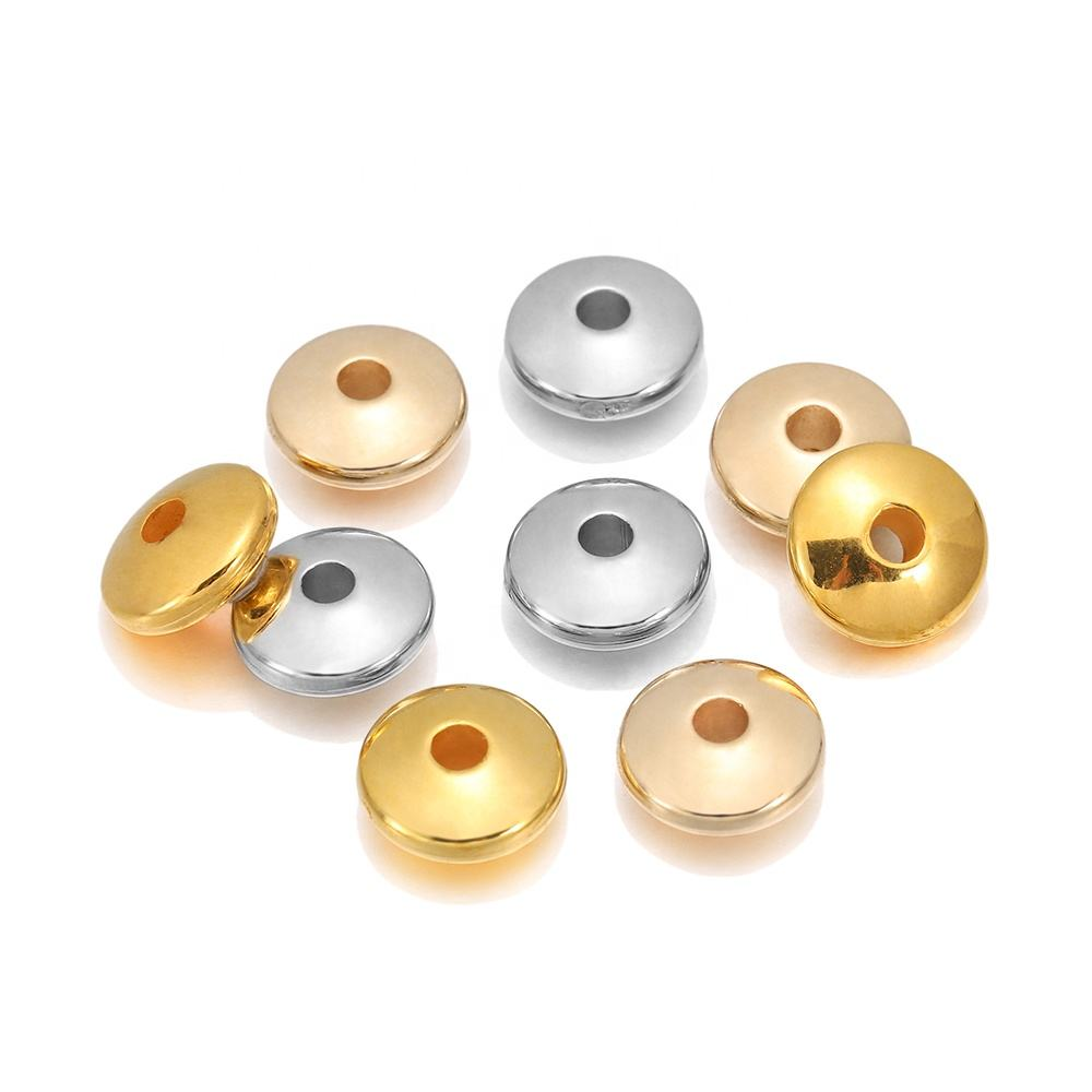 100pcs/lot Gold Rhodium Flat Round Spacer CCB Plastic Bead Spacer Loose Charm Beads For DIY Jewelry Making Supplies Accessories