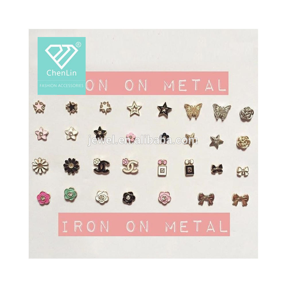iron on hot fix metal studs for tudung pins brooch