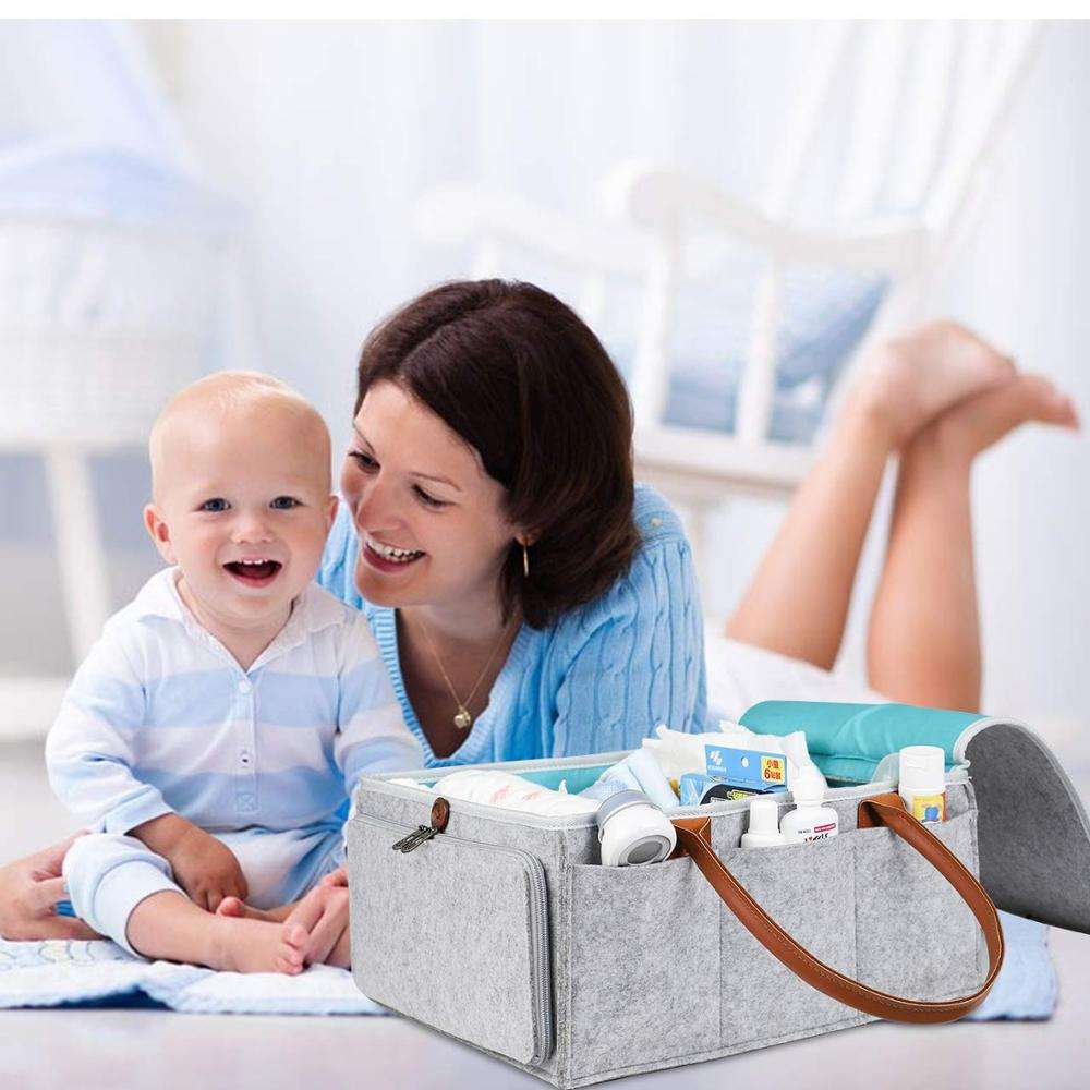 Latest Style Baby Diaper Organizer Bag With Cover Portable Felt Diaper Caddy
