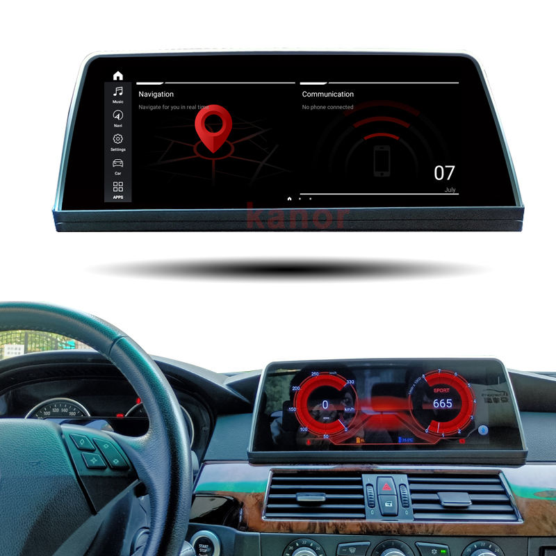 "10.25"" car touch screen gps navigation for bmw 5 series e60 e61 android 10 msm8953 8core cpu 4g ram 64g rom multimedia player"