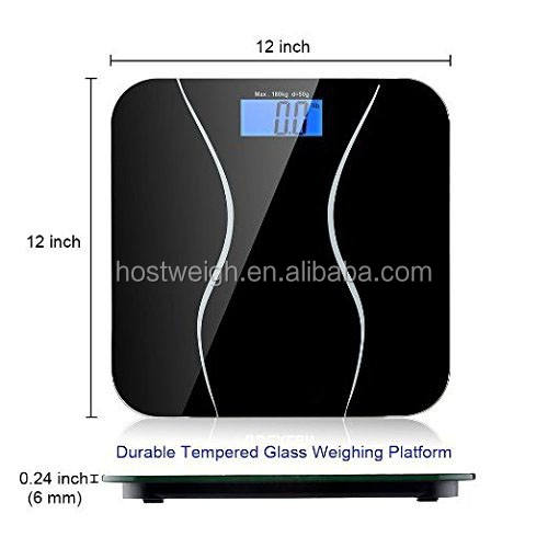 Hostweigh Hot Seller Transparent Tempeared Glass Digital Bathroom Scale Body Weight Scale