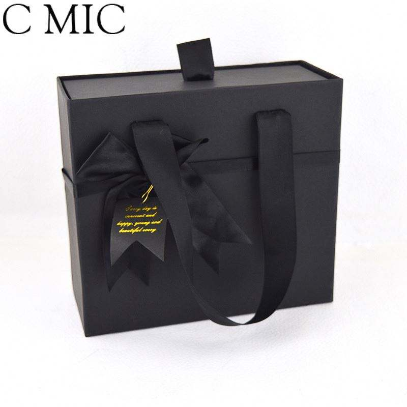 CMIC Custom Matte Hamper Ribbon Bundle Carry Boxer Plain Taped Baby Gift Decorative Custom Blue Packaged Packaging Rectangle Box