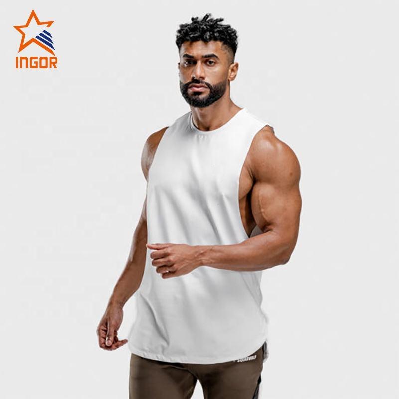 Mens active fitness wear custom logo men sport gym wear mesh running sleeveless tshirts gym fitness athletic apparel mens