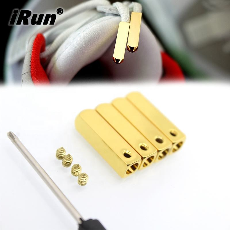 iRun Metal Screw on Aglet Lace Tips for Sneaker Shoes - Custom Print Aglets for Shoelaces Tips DIY Replacement Screw on