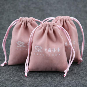 2020 hot sale Custom printed logo pink drawstring bag jewelry velvet pouch