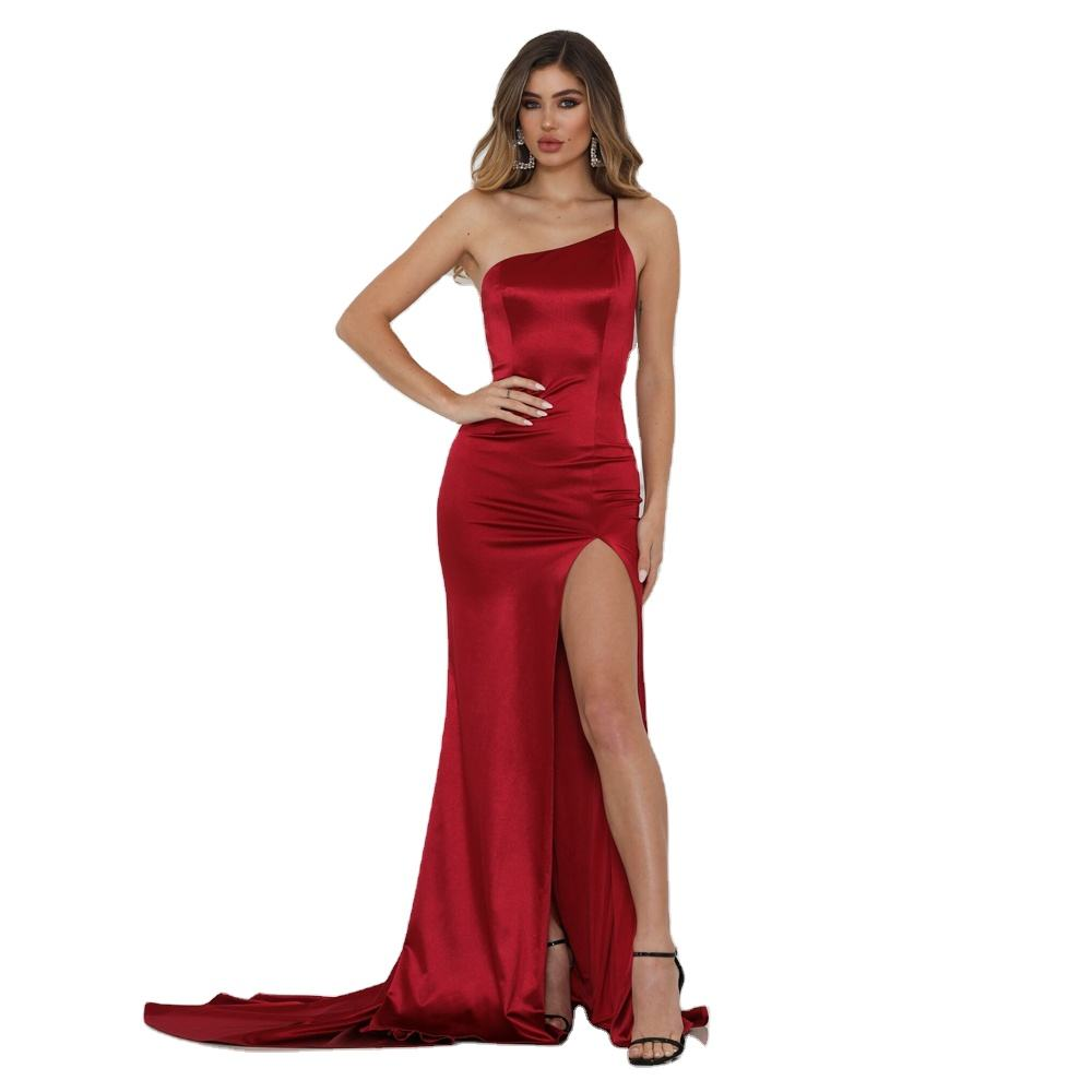 Burgundy One Straps Maxi Dress Sleeveless Stretchy Satin Mermaid Floor Length Wedding Evening Party Dress