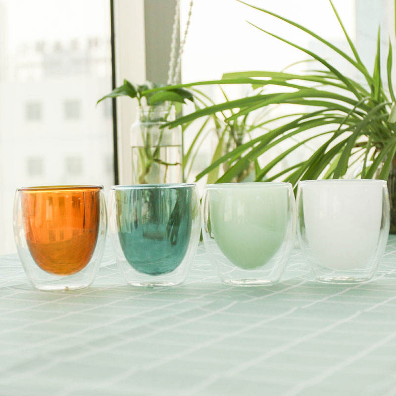Drinking Glasses Glass Glass Cups High Quality Borsilicate Double Wall Colored Drinking Glasses Coffee Glass Cup
