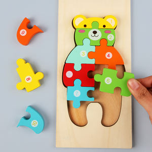 2020 hot selling kids 3d wooden puzzle toy dinosaur shape animal wood puzzles for toddlers
